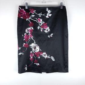 WHBM Floral Black Pencil Skirt Size 6